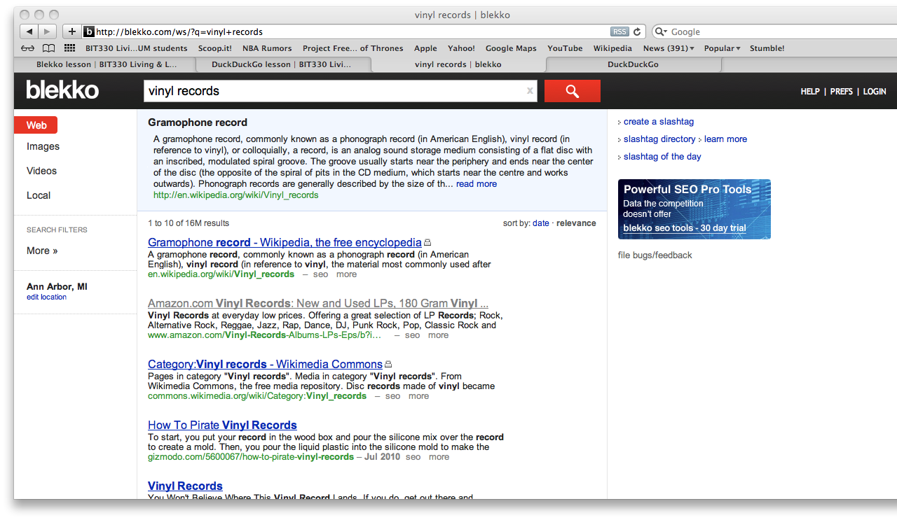 Alternative Web search – To Google or not to Google?